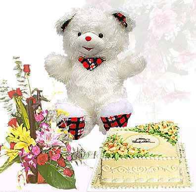Product name: Birthday flowers, cake and teddy bear HV-BD-280