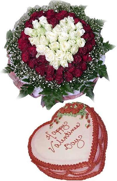 99 red and white roses bouquet and a cream cake 20cm(ID: HV-NH-L-348)